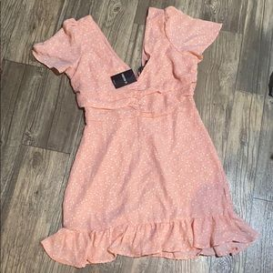NWT Peach and Cream Woven Dress